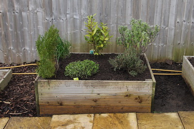 Completed herb bed with slabs in position